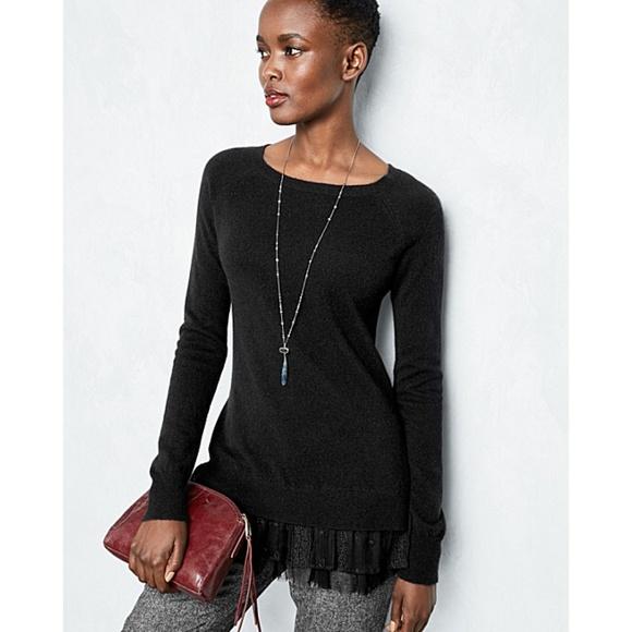 b3c933c99f Garnet Hill Sweaters - Garnet Hill Shirttail Cashmere Sweater in Black
